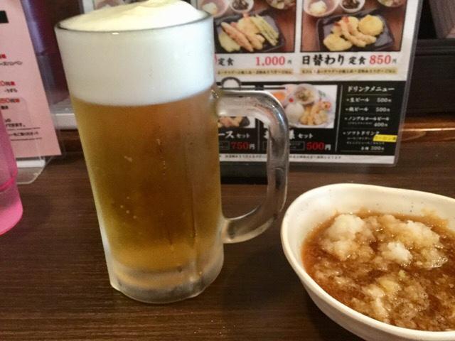 天ぷら大吉の天つゆとビール