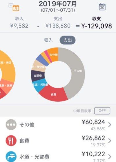 マネーフォワード家計簿 支出円グラフ